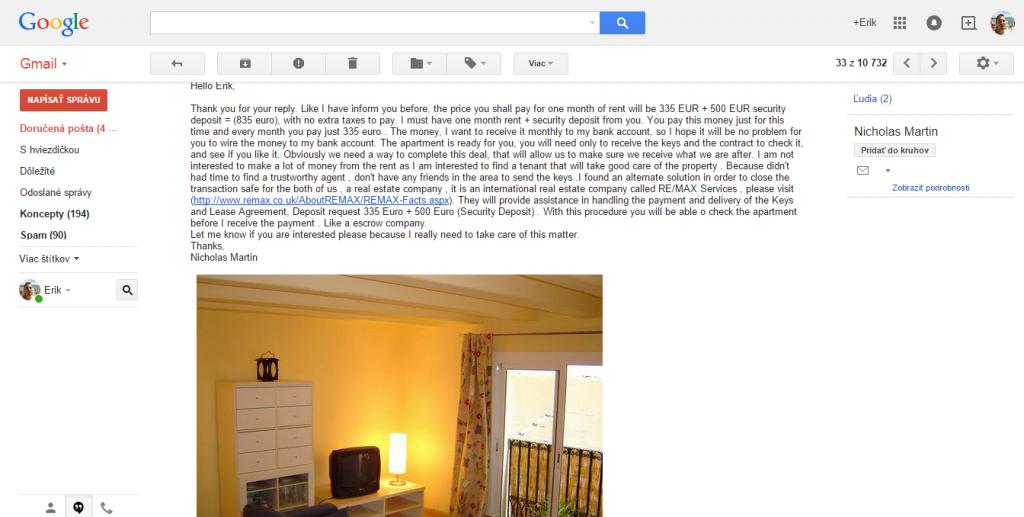 Odpoveď na prvý e-mail o záujme o prenájom bytu