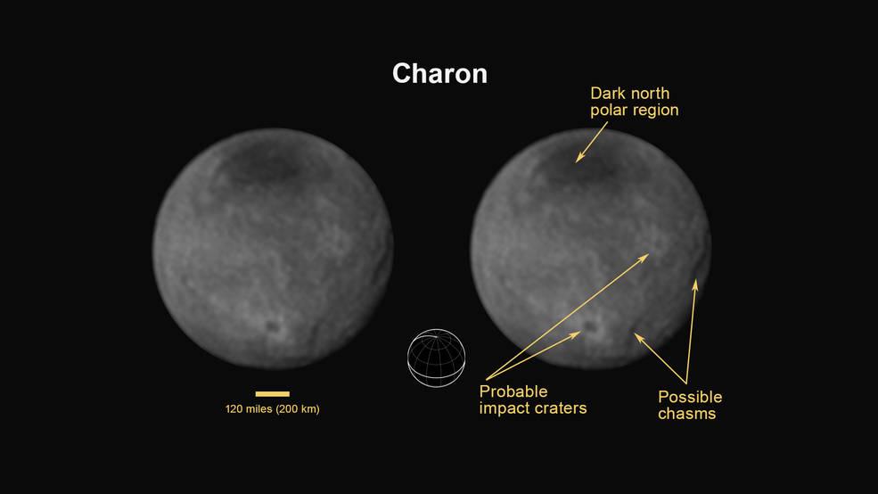 Mesiac Cháron a jeho povrch (foto: NASA)
