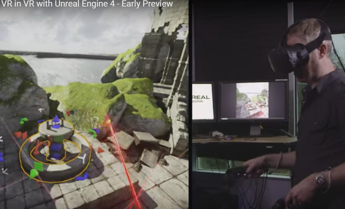 Vývojár vytvára virtuálny svet pomocou Unreal Engine 4 a VR headsetu HTC Vive | Zdroj: Epic Games